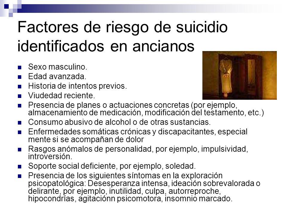 Factores de riesgo de suicidio identificados en ancianos