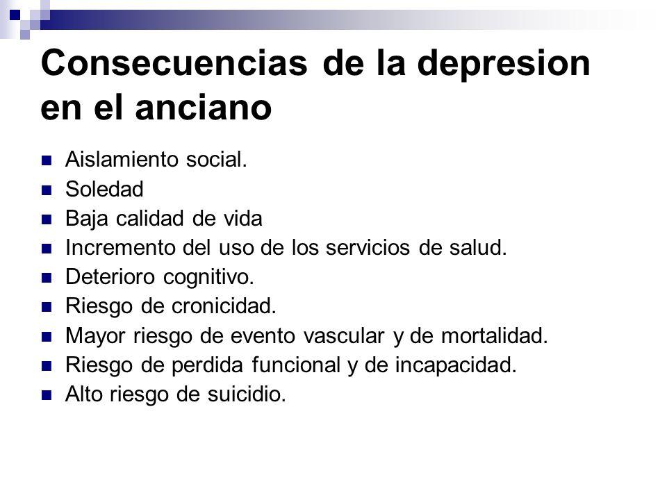 Consecuencias de la depresion en el anciano