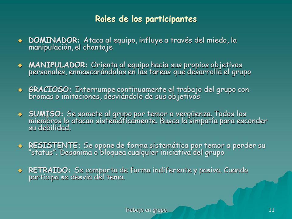 Roles de los participantes