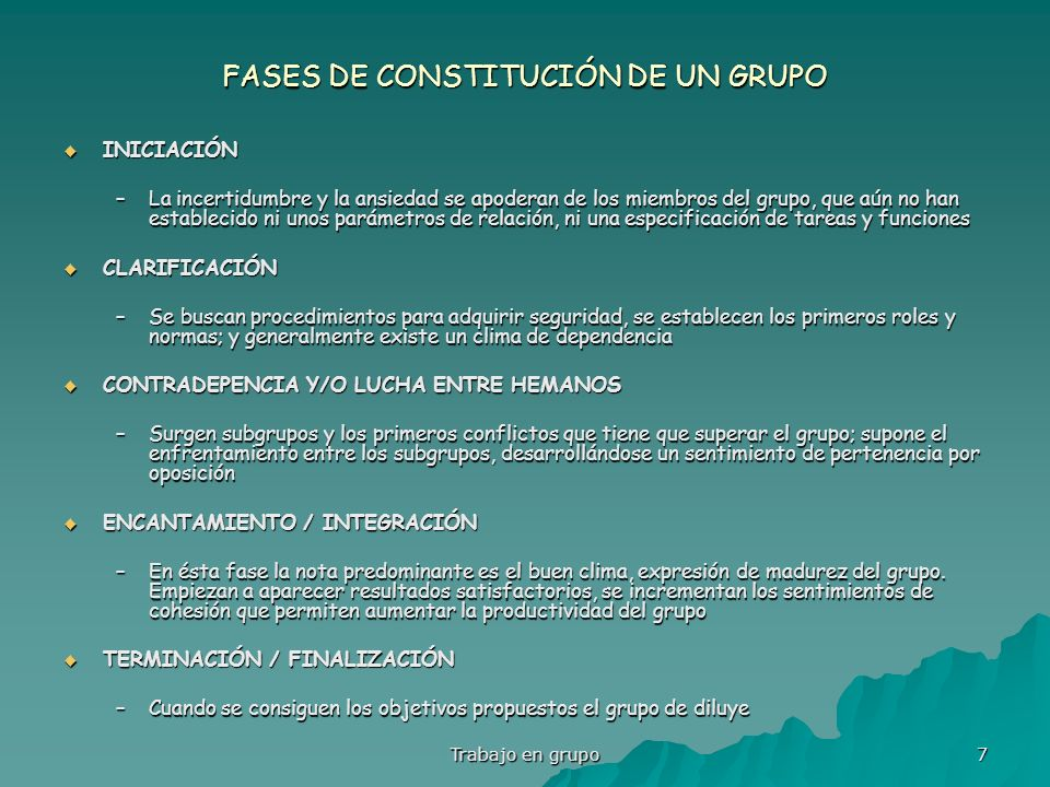 FASES DE CONSTITUCIÓN DE UN GRUPO