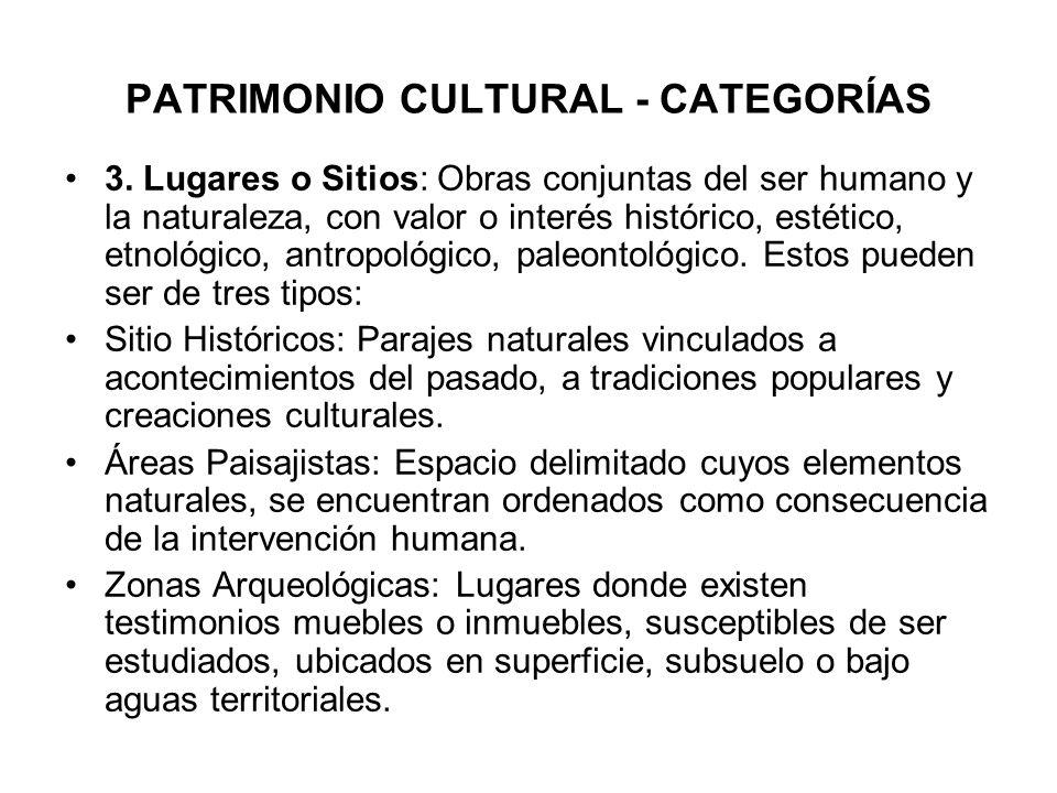 PATRIMONIO CULTURAL - CATEGORÍAS