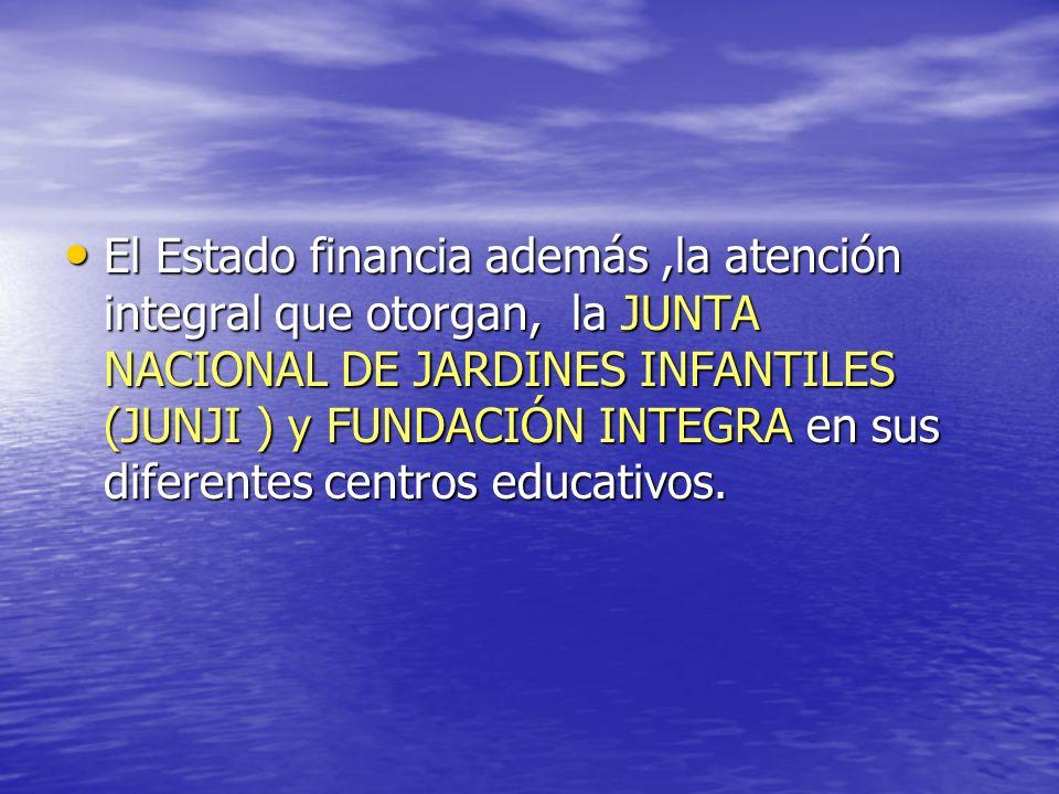 El Estado financia además ,la atención integral que otorgan, la JUNTA NACIONAL DE JARDINES INFANTILES (JUNJI ) y FUNDACIÓN INTEGRA en sus diferentes centros educativos.