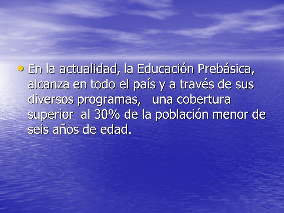 En la actualidad, la Educación Prebásica, alcanza en todo el país y a través de sus diversos programas, una cobertura superior al 30% de la población menor de seis años de edad.