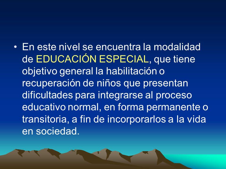 En este nivel se encuentra la modalidad de EDUCACIÓN ESPECIAL, que tiene objetivo general la habilitación o recuperación de niños que presentan dificultades para integrarse al proceso educativo normal, en forma permanente o transitoria, a fin de incorporarlos a la vida en sociedad.