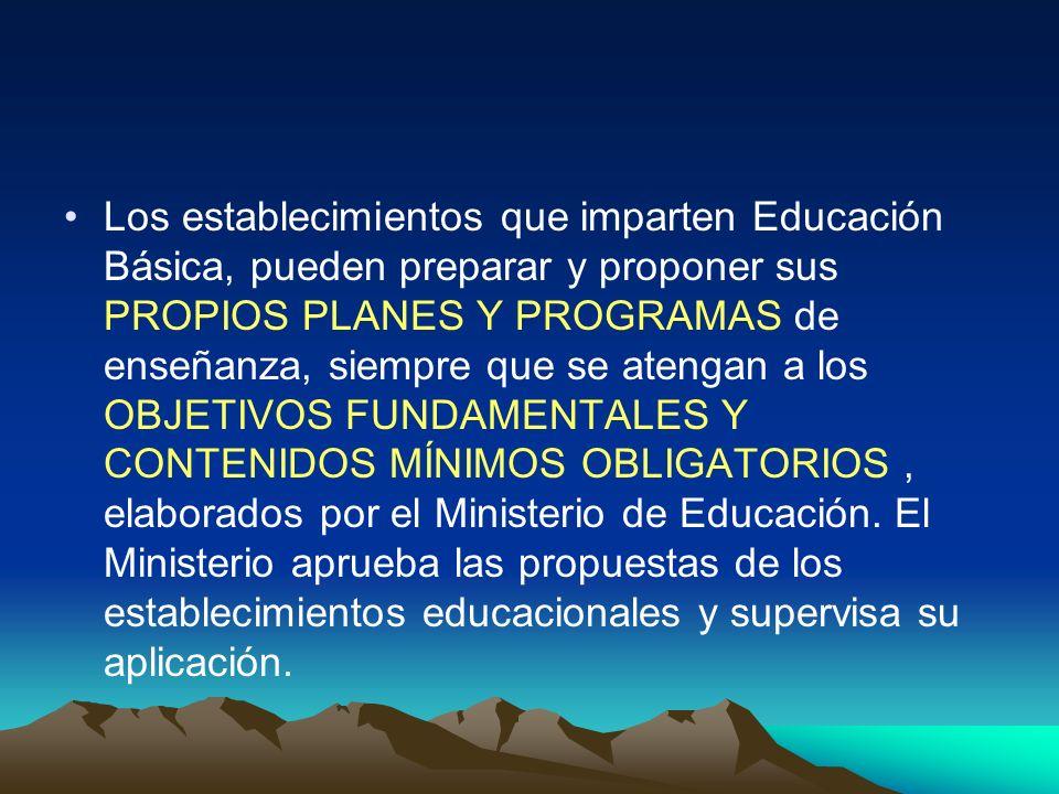 Los establecimientos que imparten Educación Básica, pueden preparar y proponer sus PROPIOS PLANES Y PROGRAMAS de enseñanza, siempre que se atengan a los OBJETIVOS FUNDAMENTALES Y CONTENIDOS MÍNIMOS OBLIGATORIOS , elaborados por el Ministerio de Educación.