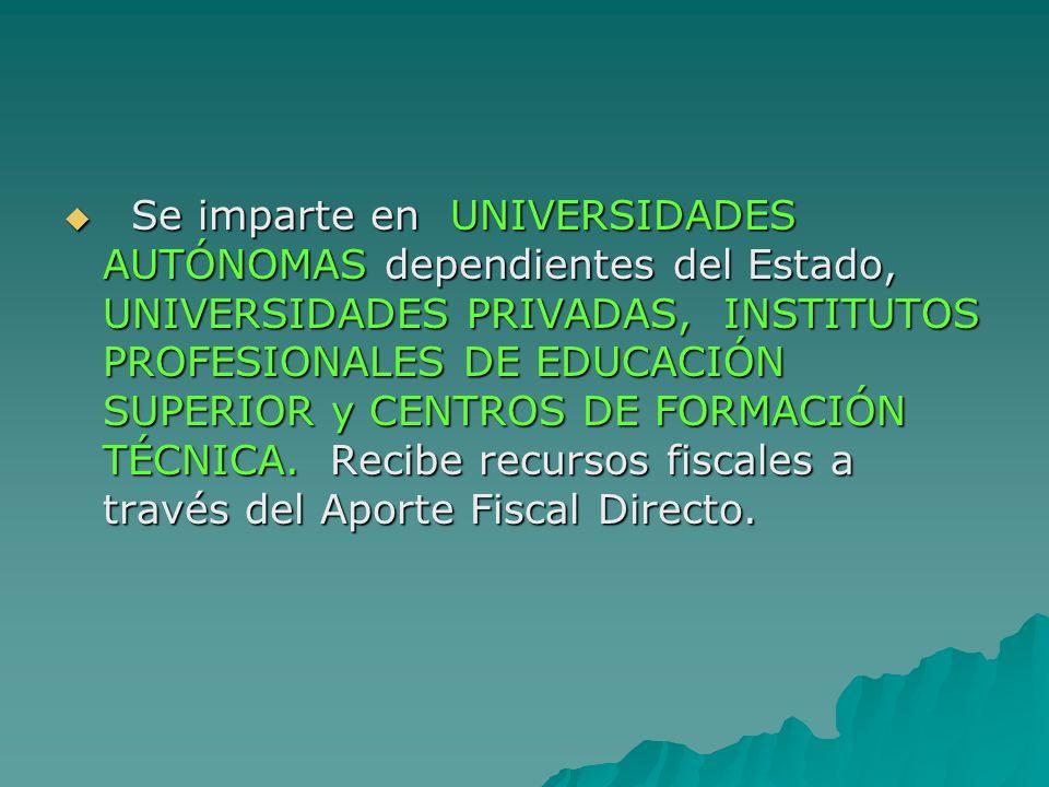 Se imparte en UNIVERSIDADES AUTÓNOMAS dependientes del Estado, UNIVERSIDADES PRIVADAS, INSTITUTOS PROFESIONALES DE EDUCACIÓN SUPERIOR y CENTROS DE FORMACIÓN TÉCNICA.