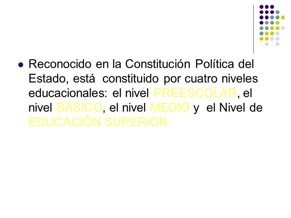 Reconocido en la Constitución Política del Estado, está constituido por cuatro niveles educacionales: el nivel PREESCOLAR, el nivel BÁSICO, el nivel MEDIO y el Nivel de EDUCACIÓN SUPERIOR.