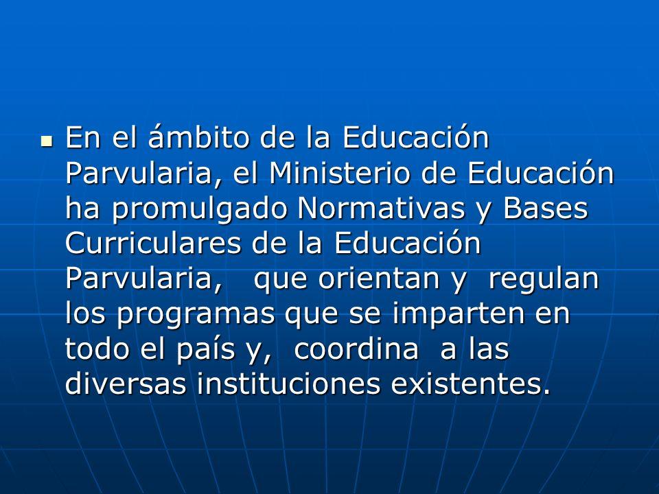 En el ámbito de la Educación Parvularia, el Ministerio de Educación ha promulgado Normativas y Bases Curriculares de la Educación Parvularia, que orientan y regulan los programas que se imparten en todo el país y, coordina a las diversas instituciones existentes.