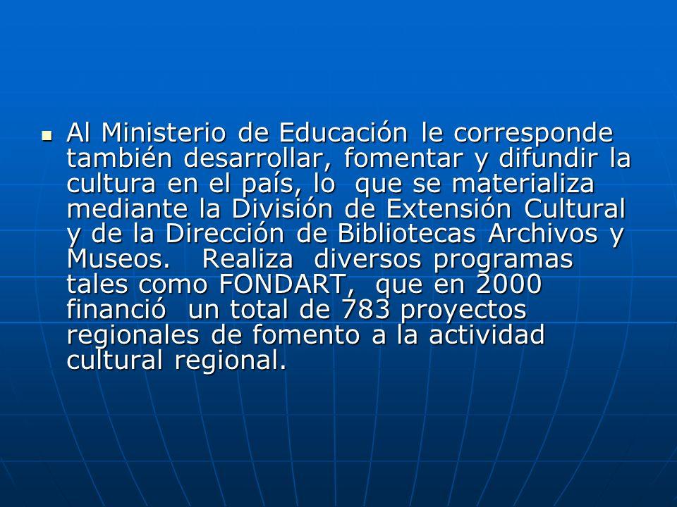 Al Ministerio de Educación le corresponde también desarrollar, fomentar y difundir la cultura en el país, lo que se materializa mediante la División de Extensión Cultural y de la Dirección de Bibliotecas Archivos y Museos.