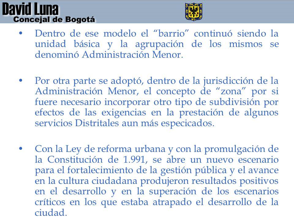 Dentro de ese modelo el barrio continuó siendo la unidad básica y la agrupación de los mismos se denominó Administración Menor.