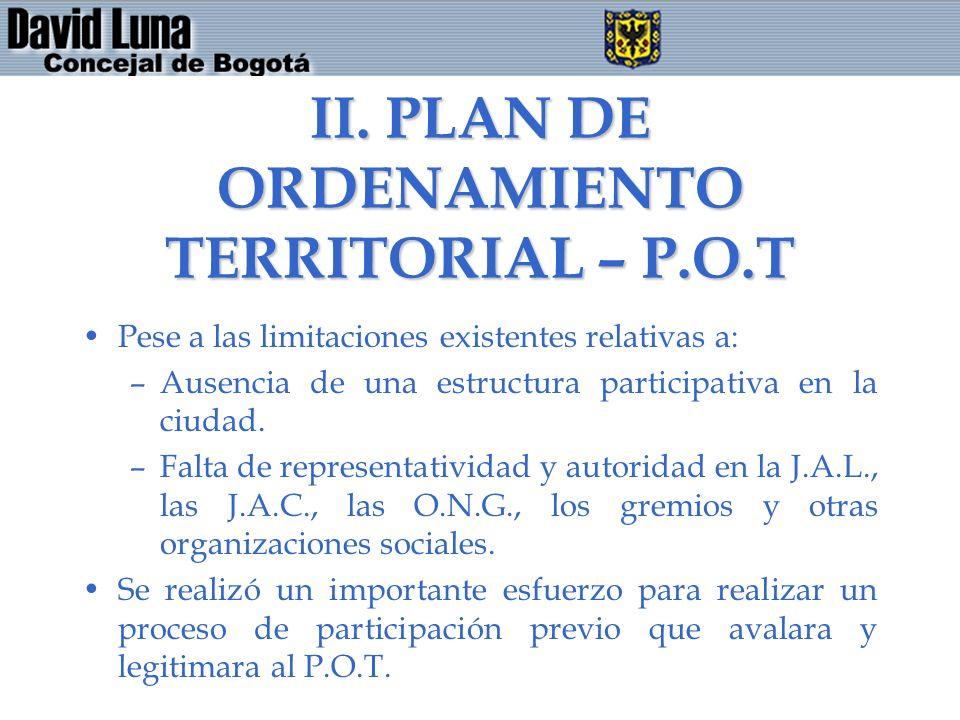 II. PLAN DE ORDENAMIENTO TERRITORIAL – P.O.T