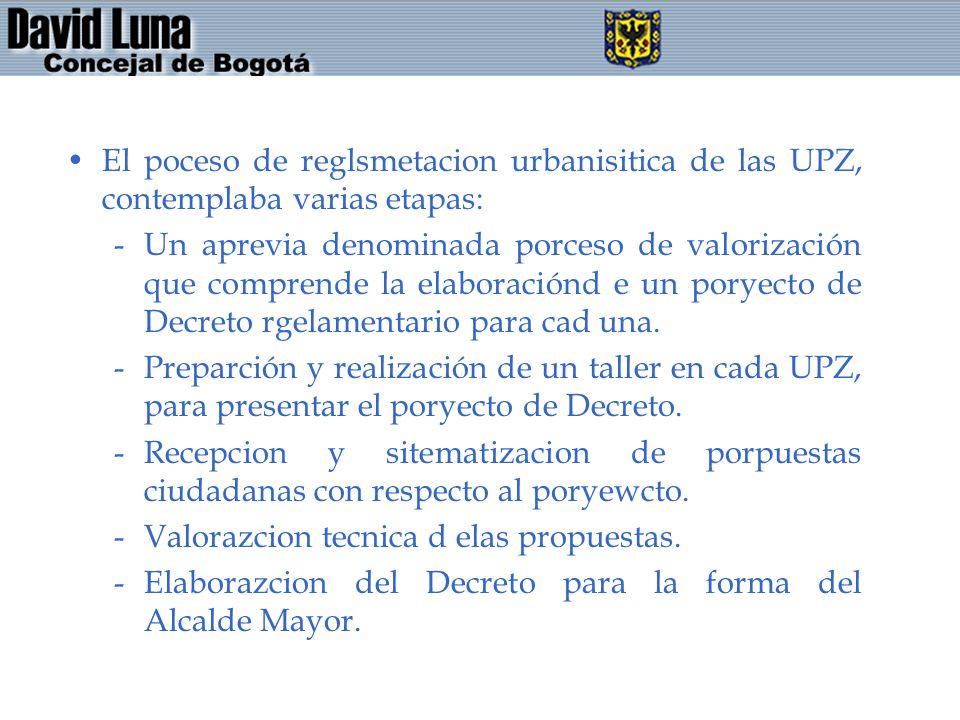 El poceso de reglsmetacion urbanisitica de las UPZ, contemplaba varias etapas:
