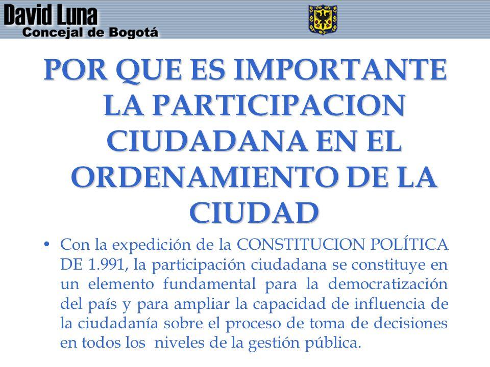 POR QUE ES IMPORTANTE LA PARTICIPACION CIUDADANA EN EL ORDENAMIENTO DE LA CIUDAD
