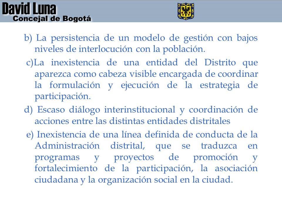b) La persistencia de un modelo de gestión con bajos niveles de interlocución con la población.