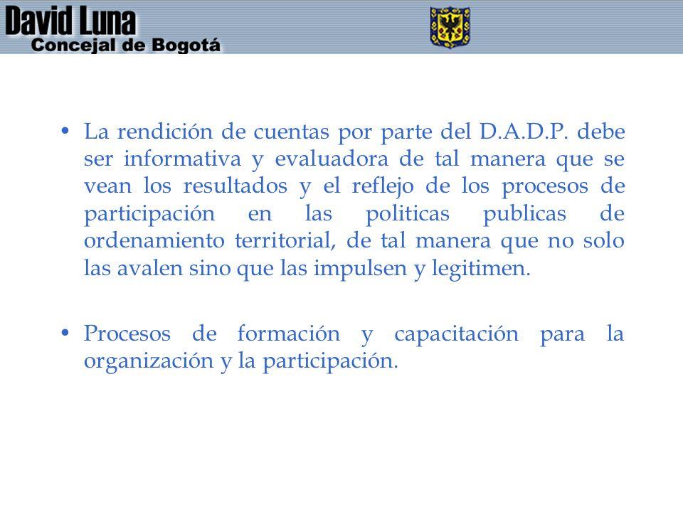 La rendición de cuentas por parte del D. A. D. P