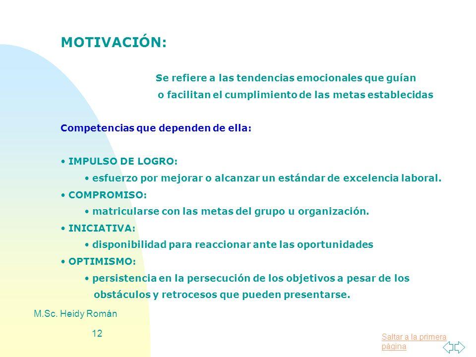 MOTIVACIÓN: Se refiere a las tendencias emocionales que guían