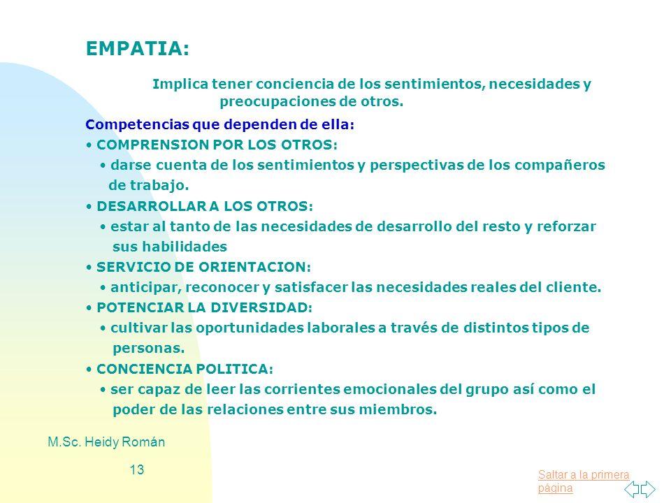 EMPATIA: Implica tener conciencia de los sentimientos, necesidades y preocupaciones de otros. Competencias que dependen de ella: