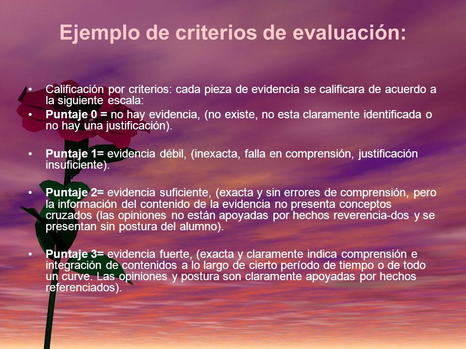 Ejemplo de criterios de evaluación: