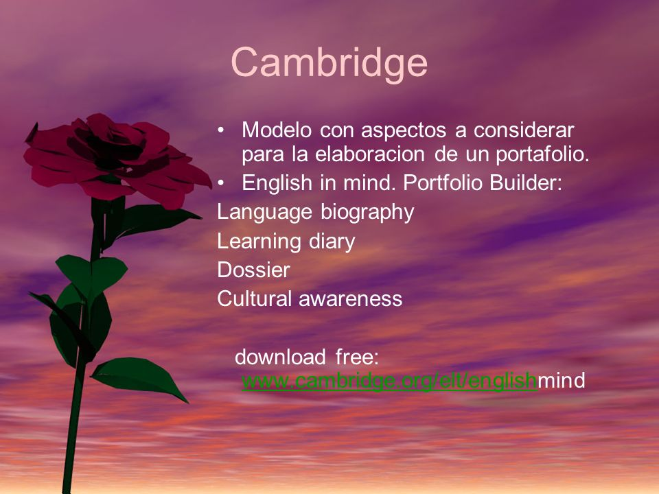 Cambridge Modelo con aspectos a considerar para la elaboracion de un portafolio. English in mind. Portfolio Builder: