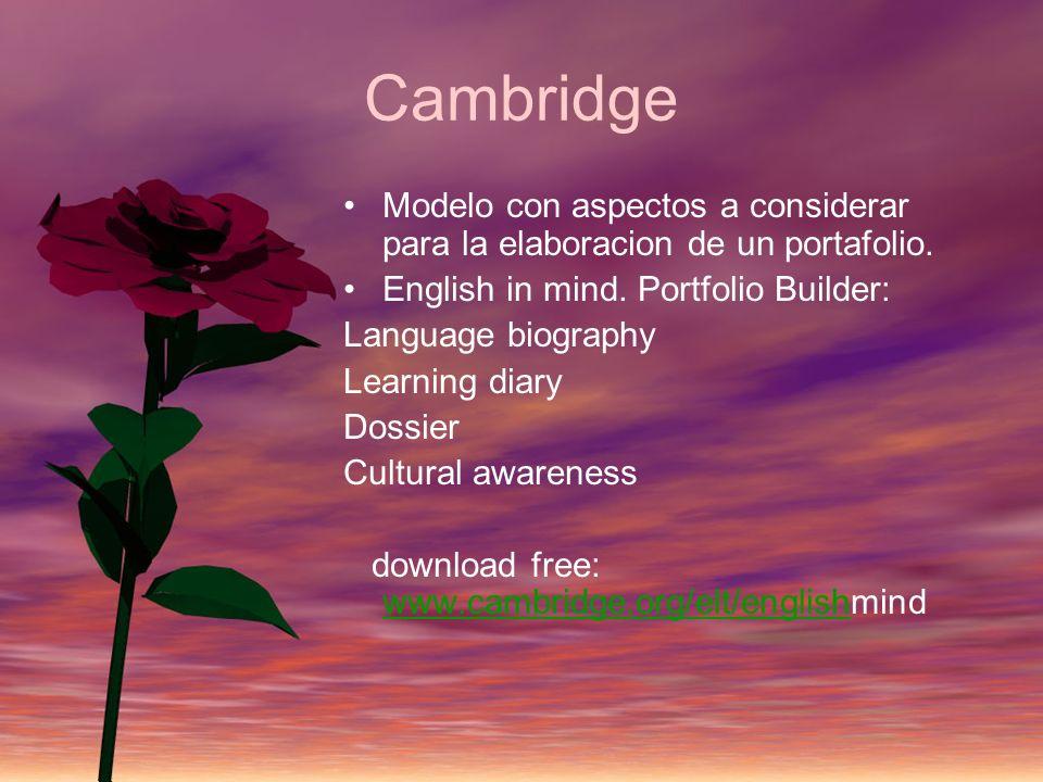 CambridgeModelo con aspectos a considerar para la elaboracion de un portafolio. English in mind. Portfolio Builder: