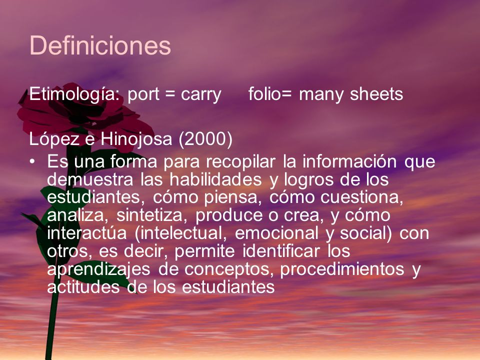 Definiciones Etimología: port = carry folio= many sheets