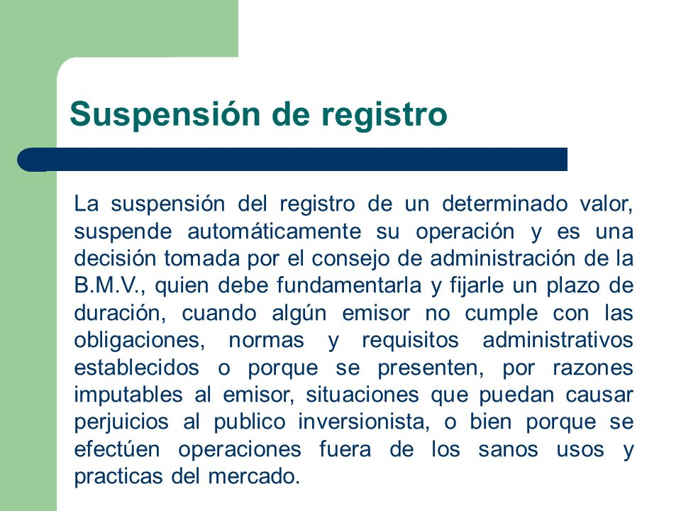 Suspensión de registro