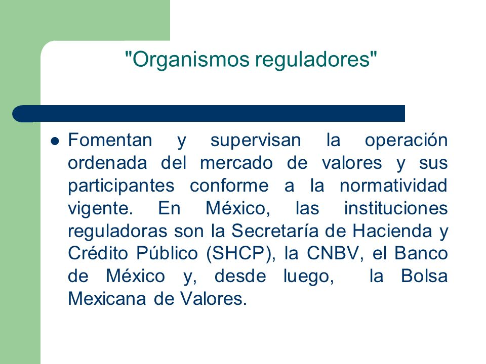 Organismos reguladores