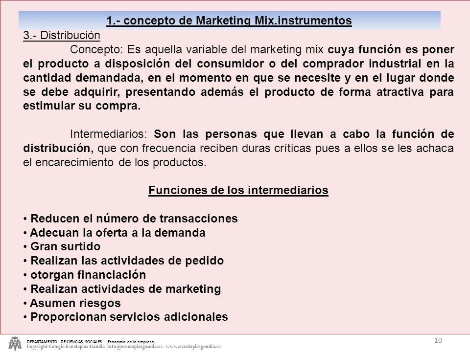 1.- concepto de Marketing Mix.instrumentos 3.- Distribución