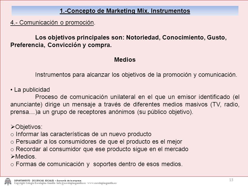 1.-Concepto de Marketing Mix. Instrumentos