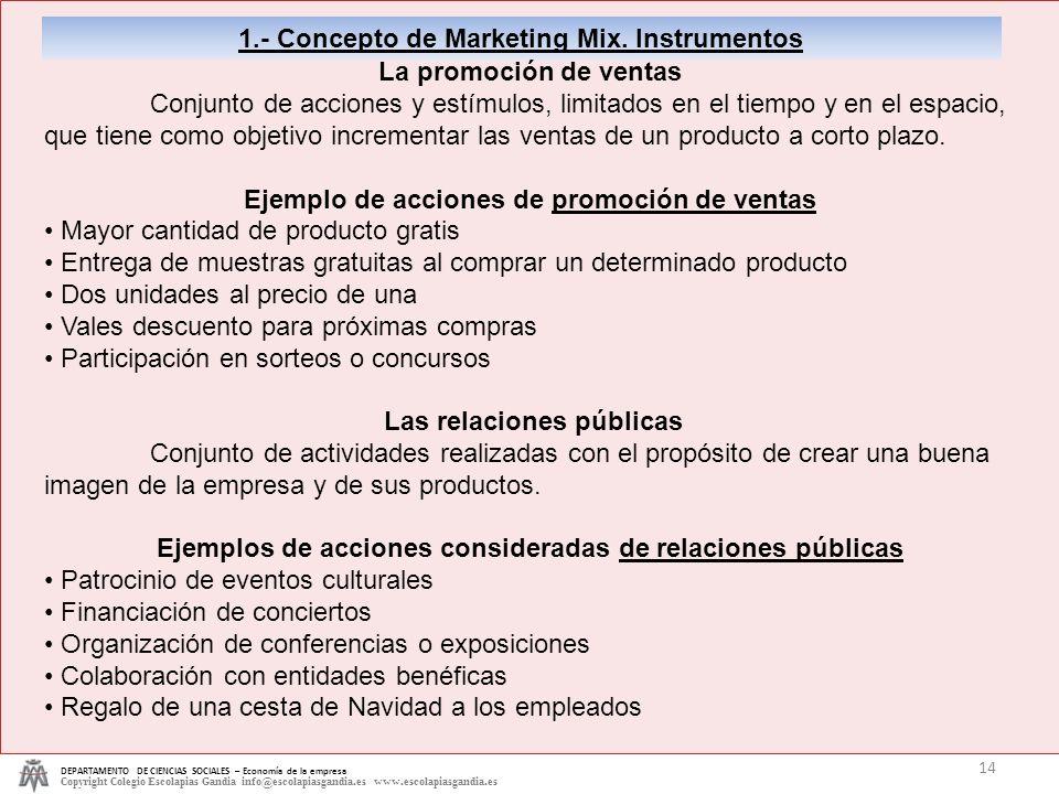 1.- Concepto de Marketing Mix. Instrumentos La promoción de ventas