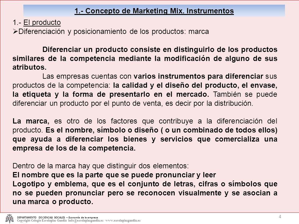 1.- Concepto de Marketing Mix. Instrumentos