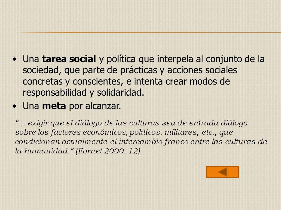 Una tarea social y política que interpela al conjunto de la sociedad, que parte de prácticas y acciones sociales concretas y conscientes, e intenta crear modos de responsabilidad y solidaridad.