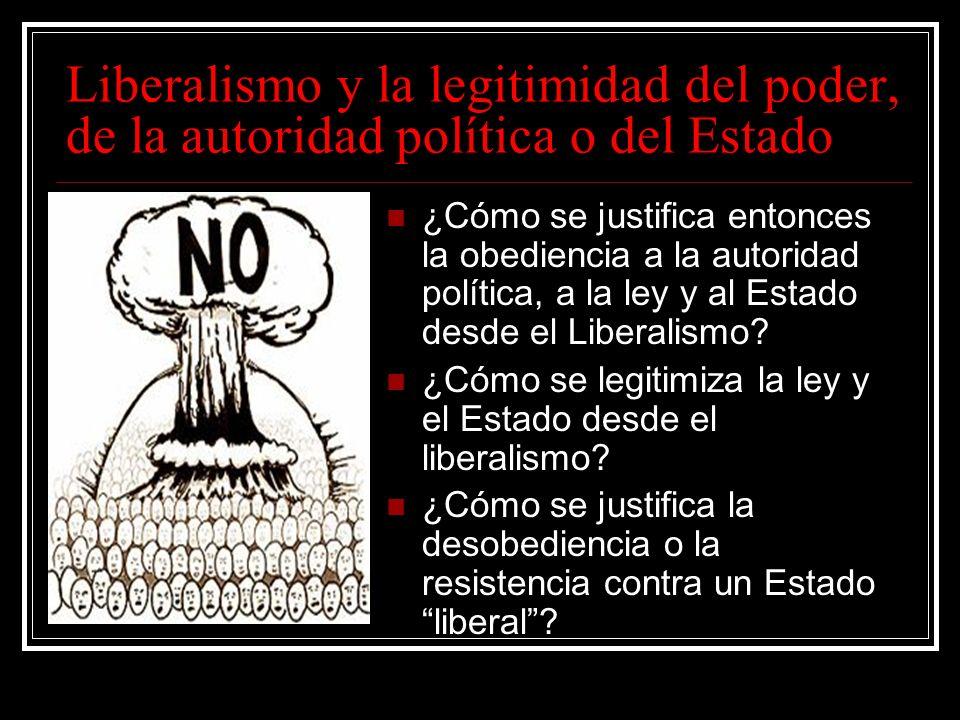 Liberalismo y la legitimidad del poder, de la autoridad política o del Estado
