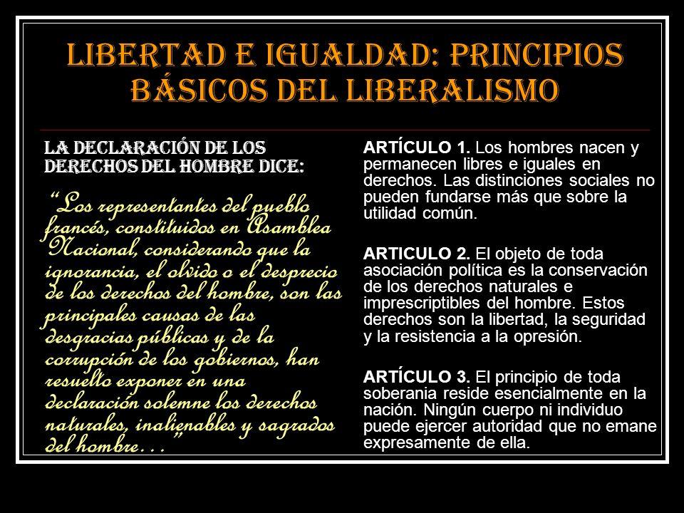 Libertad e igualdad: principios básicos del liberalismo