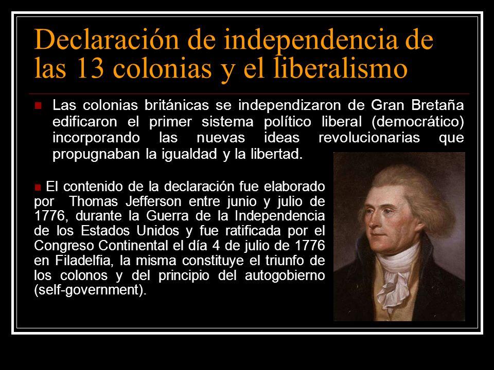 Declaración de independencia de las 13 colonias y el liberalismo