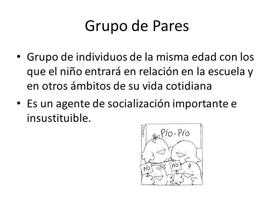 Grupo de Pares Grupo de individuos de la misma edad con los que el niño entrará en relación en la escuela y en otros ámbitos de su vida cotidiana.
