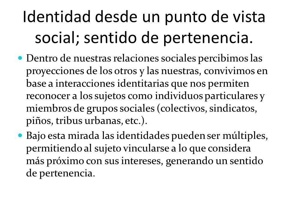 Identidad desde un punto de vista social; sentido de pertenencia.