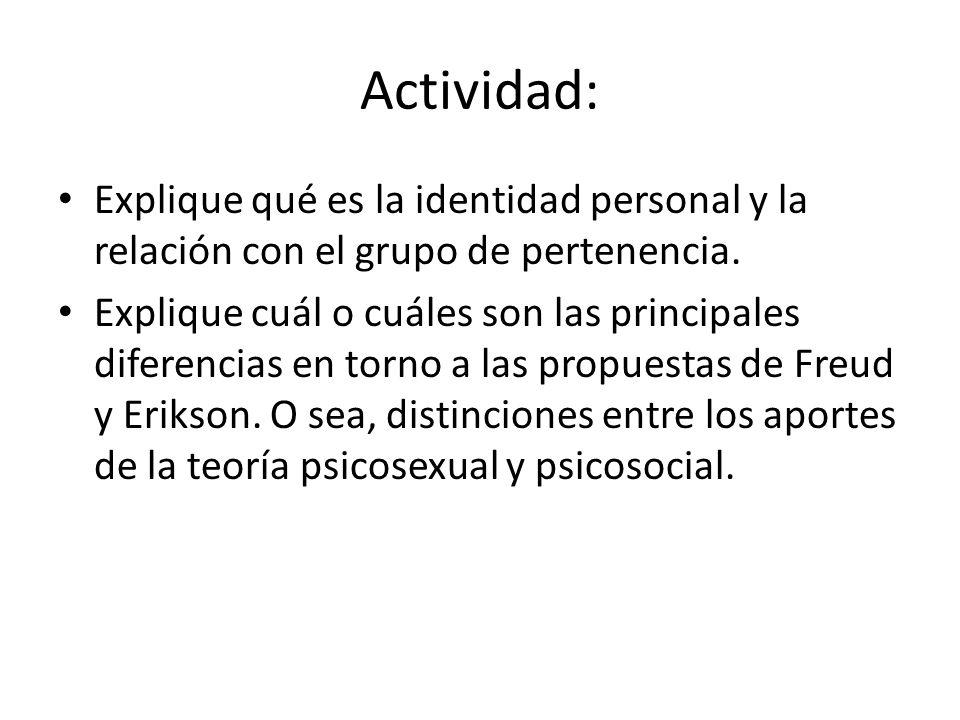 Actividad: Explique qué es la identidad personal y la relación con el grupo de pertenencia.