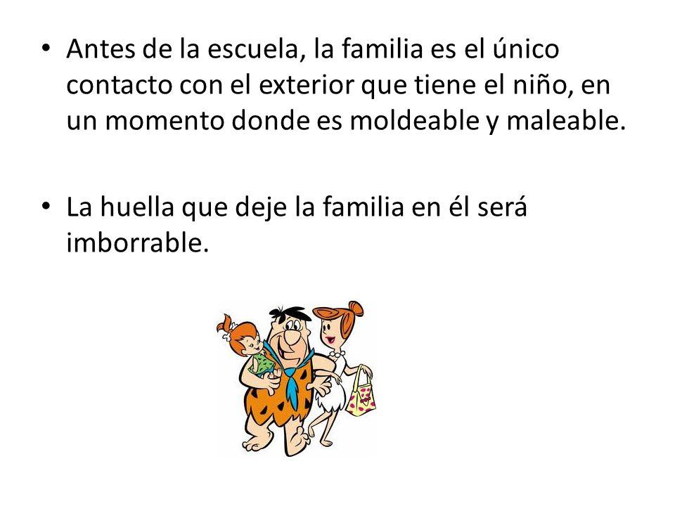 Antes de la escuela, la familia es el único contacto con el exterior que tiene el niño, en un momento donde es moldeable y maleable.
