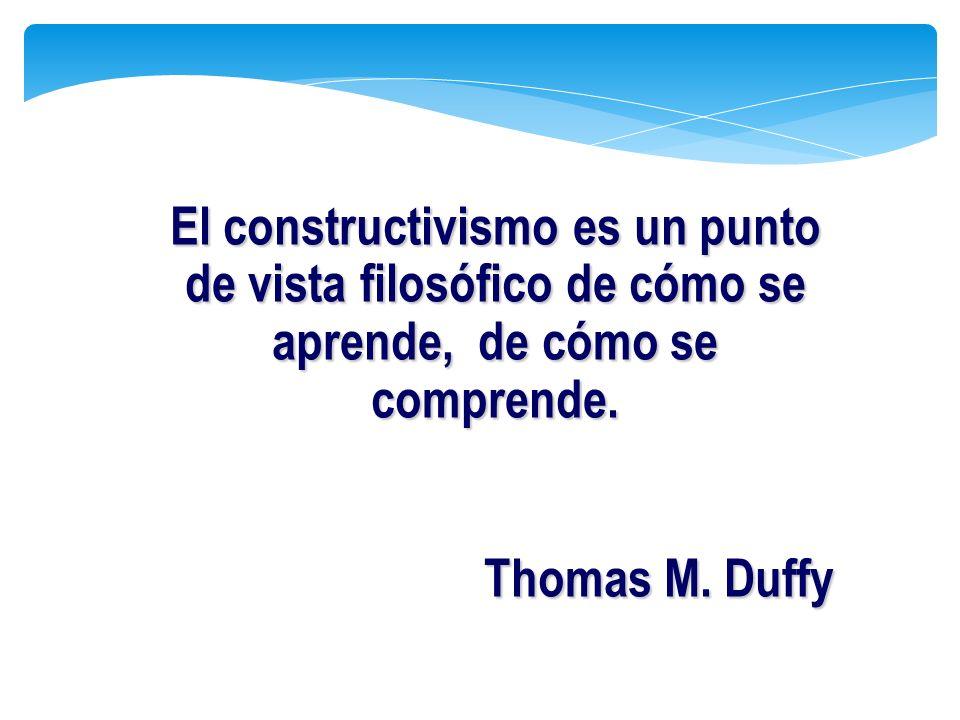 El constructivismo es un punto de vista filosófico de cómo se aprende, de cómo se comprende.