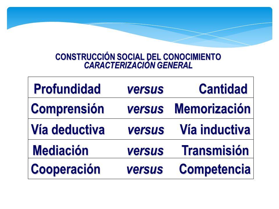 Profundidad versus Cantidad Comprensión versus Memorización