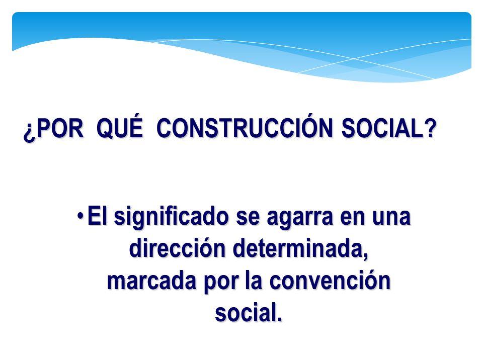 ¿POR QUÉ CONSTRUCCIÓN SOCIAL