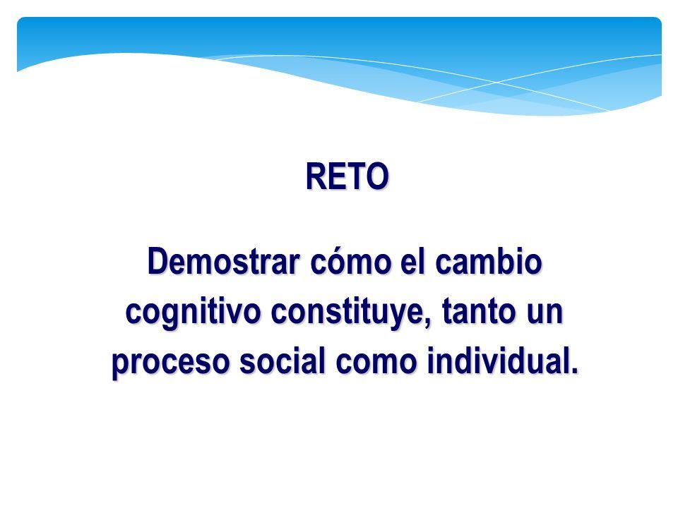 RETO Demostrar cómo el cambio cognitivo constituye, tanto un proceso social como individual.