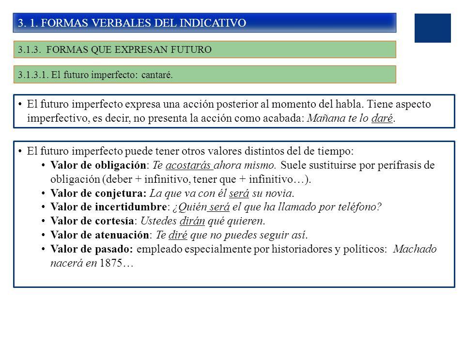 3. 1. FORMAS VERBALES DEL INDICATIVO