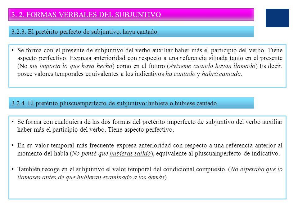 3. 2. FORMAS VERBALES DEL SUBJUNTIVO