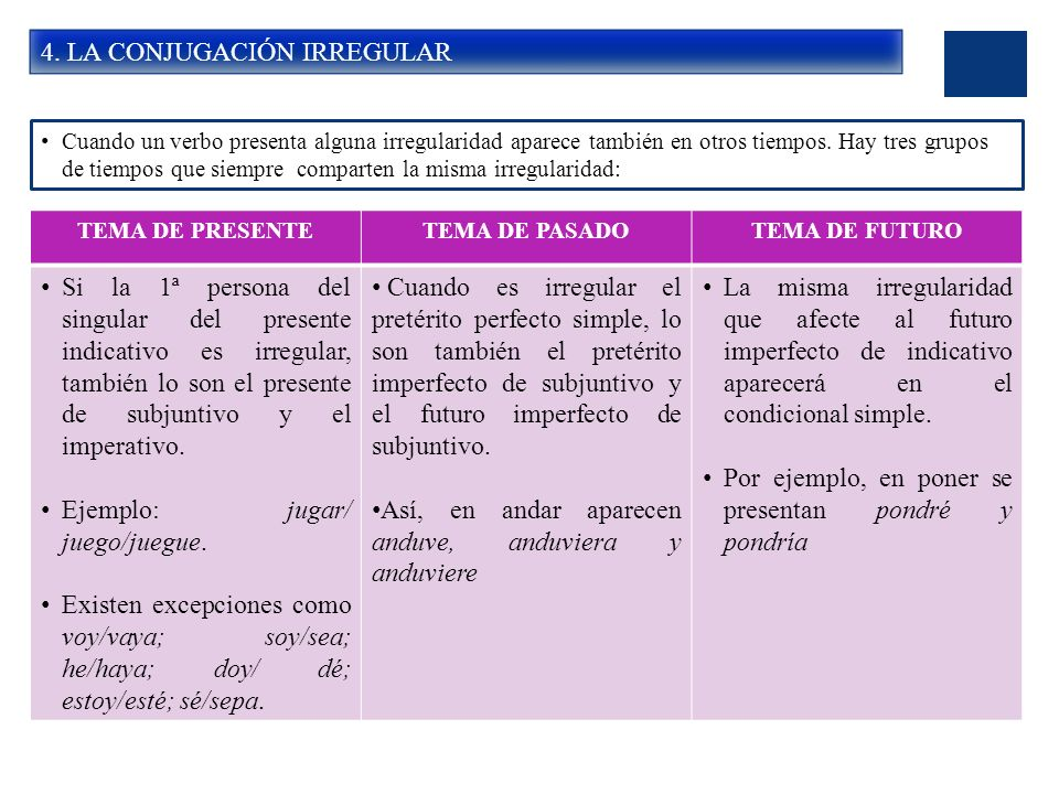 4. LA CONJUGACIÓN IRREGULAR