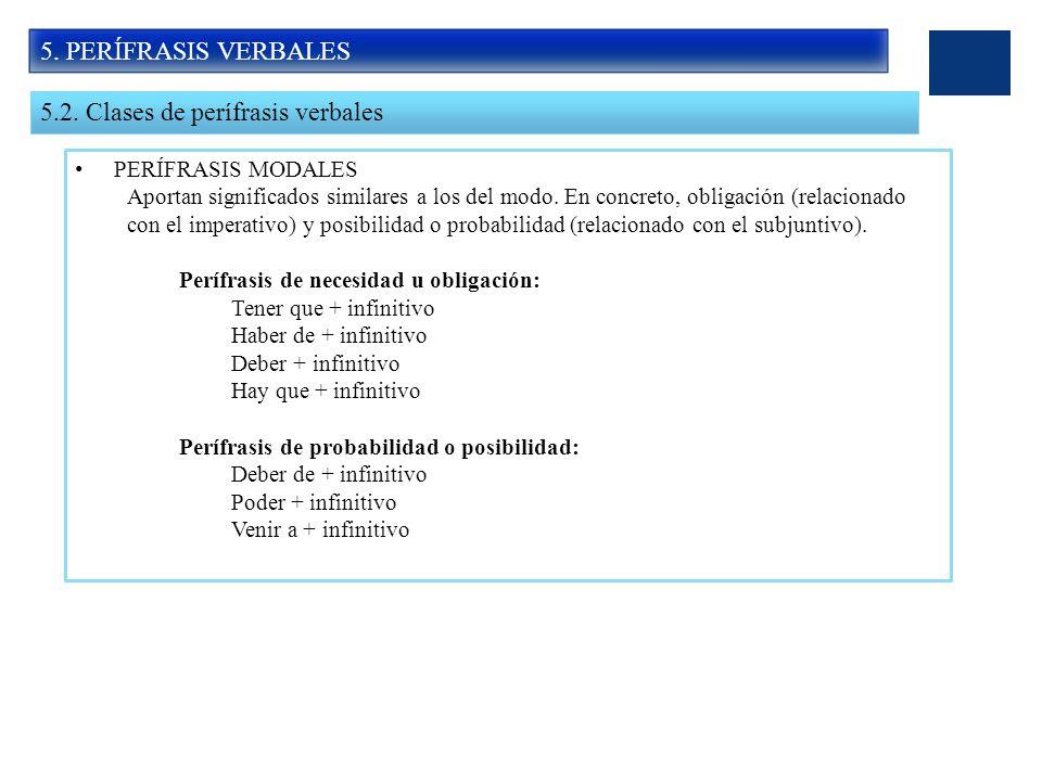 5.2. Clases de perífrasis verbales