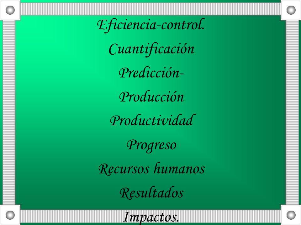 Eficiencia-control.Cuantificación. Predicción- Producción. Productividad. Progreso. Recursos humanos.