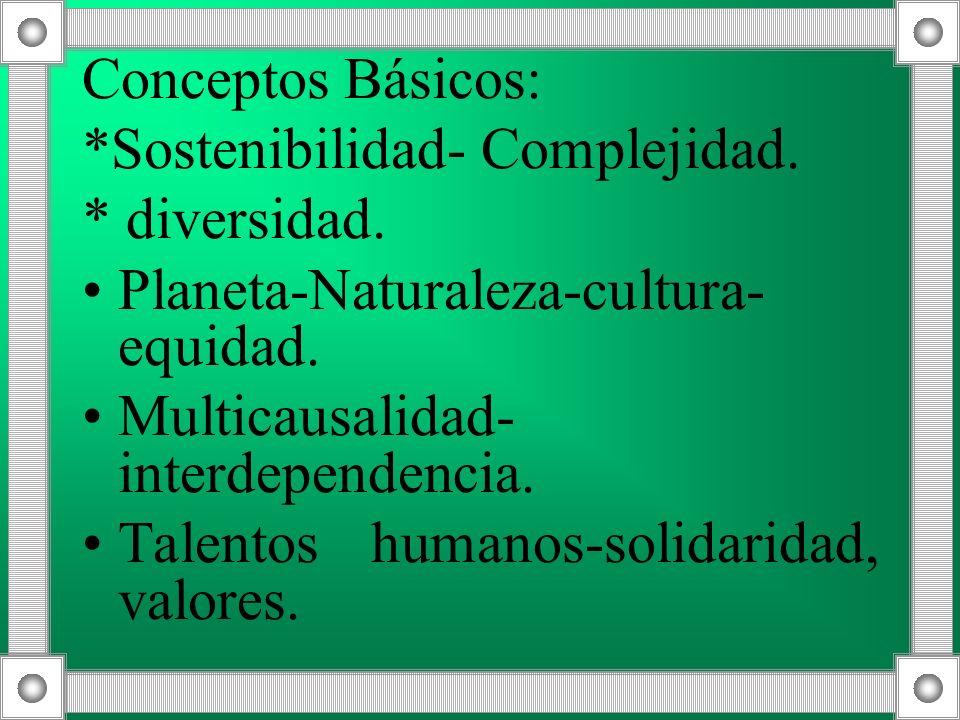 Conceptos Básicos:*Sostenibilidad- Complejidad. * diversidad. Planeta-Naturaleza-cultura-equidad. Multicausalidad-interdependencia.