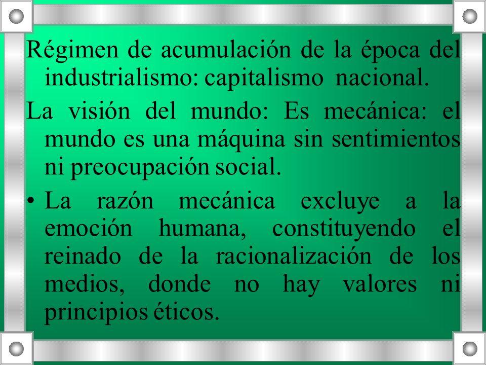 Régimen de acumulación de la época del industrialismo: capitalismo nacional.